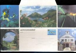 AEROGRAMME AEROGRAM AIR LETTER STATIONERY * ANTILLES ANTILLEN * DIVER FISH SCENERY * UNUSED - Antilles