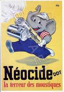 Affiche Sur Carte Postale - Néocide (DDT) - La Terreur Des Moustiques - Publicité