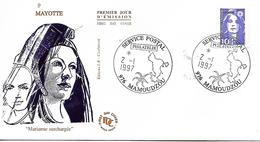 MAYOTTE  MAMOUDZOU  Marianne De Briat 10 Frs  2/01/97 - Lettres & Documents