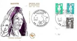 MAYOTTE  MAMOUDZOU  Marianne De Briat 0,10 Frs  0,20 Frs 5,00 Frs  2/01/97 - Lettres & Documents