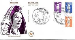 MAYOTTE  MAMOUDZOU  Marianne De Briat 0,50 Fr 1,00 Fr 2,00 Frs  2/01/97 - Lettres & Documents