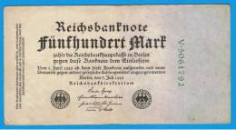ALEMANIA - GERMANY -  500 Mark 1922  MBC  P-74 - [ 3] 1918-1933 : República De Weimar