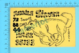 """QSL- CB-  Mobile Silver """" Chien"""" - Montreal Quebec- 2 Scans - CB"""