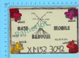 QSL- CB- Base Mobile Babouin, Singes  - Montreal Quebec- 2 Scans - CB