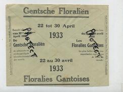 GENT - GAND : Floralien  ( 1933  )  Vieux Enveloppe - Entiers Postaux