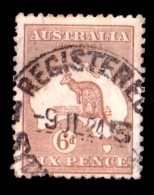 Australia 1923 Kangaroo 6d Chestnut 3rd Watermark Used  SG 73 - See Notes - Used Stamps