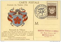 Journée Du Timbre 1944 Bordeaux .  SUPERBE . - Postmark Collection (Covers)