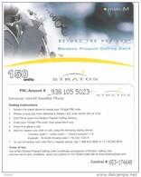 Canada-Stratos Satellite Prepaid Card(Beyond The Horizon) 150units,control Code:653,used