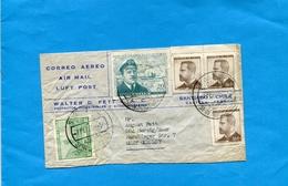 "MARCOPHILIE- CHILI*Lettre >Allemagne-cad 1968 Servi Nocturno-aero-5 StampsN°317-rescate De"" SHACKLETON-"" - Chile"