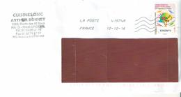"""ENVELOPPE AVEC TIMBRE  LETTRE VERTE ANNEE 2016 """"LE TIMBRE A GRATTER"""" OBLITERE - France"""