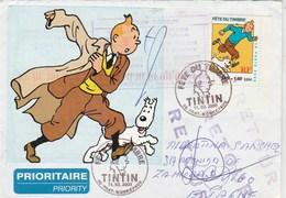 Yvert 3304 Tintin  Sur Lettre  FDC Cachet PRAT BONREPAUX Ariège 11/3/2000 Pour Espagne - Bandes Dessinées