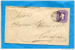 MARCOPHILIE -CHILI-lettre Entier Postal-5cent Colon Cad Sn CARLOS 1891 Pour Conception - Chile