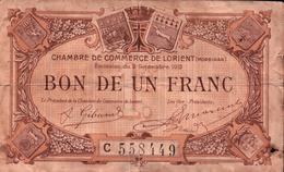 Chambre De Commerce - Lorient  (Morbihan) - Bon De Un Franc - 2 Septembre 1919 - Chamber Of Commerce