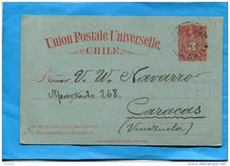 MARCOPHILIE -CHILI-carte Postale Entier Postal-3 Cent COLON Cad 1896-VALPARAISO-pour Vénézuela - Chile