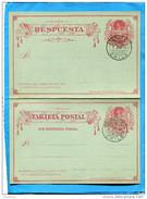 "MARCOPHILIE -CHILI-carte Postale Entier Postal""con Respuesta Pagada-  -2cent COLON -cad 1894 A Valparaiso - Chile"