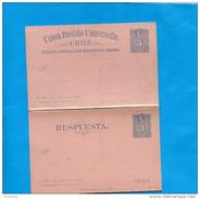 "MARCOPHILIE -CHILI-carte Postale Entier Postal""con Respuesta Pagada-Neuf3cent COLON-1894 - Chile"