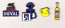 Lot De 4 Pin's Différents Pastis 51_ Duval _ Berger _ R. B - Beverages
