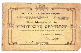 Bon 25c Ville De RIBEMONT 1915 - Bons & Nécessité