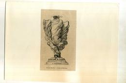 VASE PAR BOUCHER   . GRAVURE SUR BOIS DU XIXe S. DECOUPEE ET COLLEE SUR PAPIER . - Sculptures