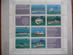 """Suisse   1978  N° Y&T : 1050 à 1057 """"  Bateaux Du Lac""""  Expo Nationale Philatélie  8V.  Neuf - Svizzera"""