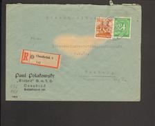 Alli.Bes.84 Pfg.Ziffer U.24 Pfg. Arbeiter Auf Einschreibe-Fernbrief Aus Osnabrück 1v.1948, Ankunftstempel - American,British And Russian Zone
