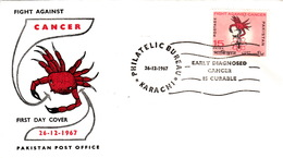 PAKISTAN FDC - COVER - EARLY DIAGNOSED CANCER IS CURABLE - Cachet Rond KARACHI 26.12.1967