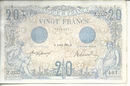 20 F BLEU - 2 AOUT 1912 - FAYETTE 10/2 - RARE SUP+/SPL - 2 épinglages (4 Trous) - AUCUN PLI - 1871-1952 Anciens Francs Circulés Au XXème