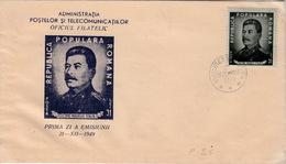 ROUMANIE ROMANA FDC COVER - GLORIE MARELUI STALIN! - BUCUREST 21.12.1949 - FDC