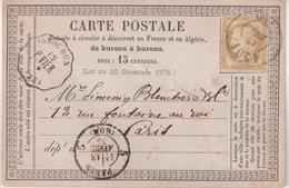 """FRANCE : CARTE PRECURSEUR . OBL . BUREAU DE PASSE 4201 . """" VIERZON """" ET CAD CONVOYEUR """" ISSOUDUN """" . (35) . 1875 . - Postmark Collection (Covers)"""