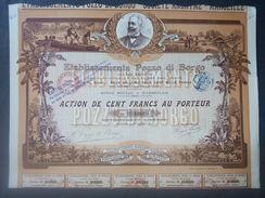1 Ets POZZO DI BORGO 1913 CORSE Action Décoré + Coupons - Autres