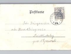 LOITKIRKEBY Schleswig Holstein Stempel 1903 Auf AK FLENSBURG Promenade Klarer Stempel - Germania