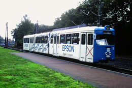 DIAPOSITIVA/SLIDE  TRAM A FRANCOFORTE 1991 Pubblicita' EPSON - Trains