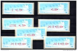 FRANCE FRANKREICH ATM LISA DISTRIBUTEURS 1996 YVERT 221B à 225B Papier Oiseaux 7 Valeurs De E 2,70 à J+2 N 19 Satz - 1990 Type «Oiseaux De Jubert»