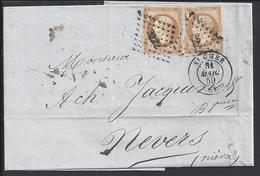 FR - 1859 - N° 13 X 2 Oblitéré Losange 3222 Sur Pli De St Omer Vers Nevers - 4 Scans - - 1853-1860 Napoléon III