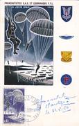 Carte-Maximum FRANCE N° Yvert 1603 (PARACHUTISTES)  Obl Sp Ill 1er Jour (Ed La Ruche Avec Autographe) - 1960-69