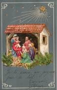 Carte Illustrée Gauffrée. Creche De Noel - Natale
