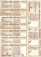 ZIMBABWE 50 BILLION DOLLARS 2008 VF P 63 ( 10 Billets ) - Zimbabwe
