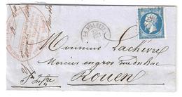 Lettre: LA VILLETTE ,fabrique D'ALLUMETTES Facture Illustrée Lion, Coq, Aigle, 25 Mai 1860, Pc 3637 Sur N° 14 > Rouen,TB - 1849-1876: Période Classique