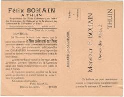 Bulletin De Commande. Thuin. Félix  Bohain. Plan Cadastral Par Popp. - Belgium