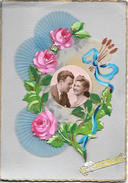 Carte En Relief Différents Matériaux; Papier Tissus Photo Celluloid Peinte Main Pour Fete Ste Catherine Ou Catherinette - Phantasie