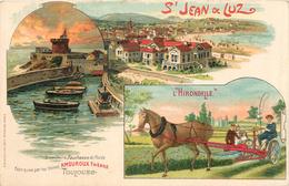 64 Pyrenées St JEAN DE LUZ Chromo PUBLICITE Outils Agricoles L'HIRONDELLE Edit SIRVENE Faucheuse AMOUROUX Usine TOULOUSE - Saint Jean De Luz