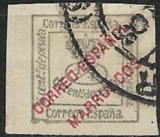 SPANISH MOROCCO 1903 Numeral & Crown Overprinted -  1/4c. - Green FU - Spanish Morocco