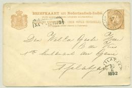 Nederlands Indië - 1892 - 7,5 Cent Cijfer Van (KR) DJOKJAKARTA Met Na Posttijd Naar Tjilatjap - Indes Néerlandaises