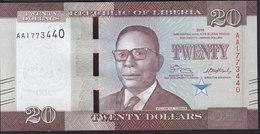 Liberia 20 Dollar 2016 Pnew UNC - Liberia