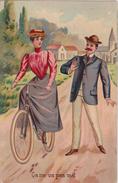 FEMME Apprenant à Faire Du Vélo - Ca Ne Va Pas Trop Mal .....Carte Postale Couleur. - 1900-1949