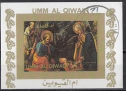 """1175 Umm Al Qiwain 1972 """"Adorazione Del Bambino Di Annalena"""" Quadro Dipinto Da Filippo Lippi  Paintings Tableaux"""