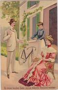 FEMME Apprenant à Faire Du Vélo - Si Vous Voulez Bien On Va Recommencer .....Carte Postale Couleur. - 1900-1949