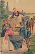 FEMME Apprenant à Faire Du Vélo - Chute: Heureusement Qu'il N'y A Rien De Grave....Carte Postale Couleur. - 1900-1949