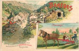 65 Hautes Pyrénées BAREGES Chromo PUBLICITE Outils Agricoles L'HIRONDELLE Edit SIRVENE Faucheuse AMOUROUX Usine TOULOUSE - Otros Municipios