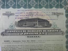 BON-208 CUBA BON 1919 500$. COMPAÑÍA DE MERCADOS DE ABASTO Y CONSUMO. - Shareholdings
